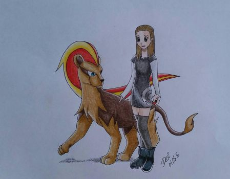 Pyroar with Trainer by Darica89