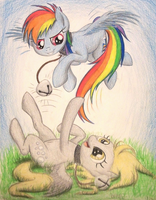 Rainbow Derp Neko Pegasi (Commission for Twotail) by TheFriendlyElephant
