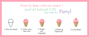Pixel art tutorial : How to draw ice cream by Fonyl