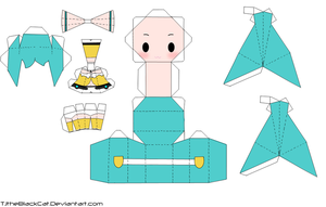 Yellow Miku Papercraft by Tamuu-ii