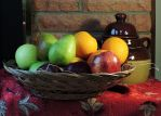 Fruit Still Life by the Fireplace by Artlune