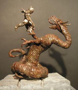 Knight and Dragon Bronze Sculpture by SabrePanther