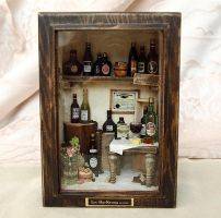 Vintage Antique wine house wood box display set by dollhouseara