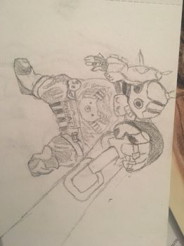 My attempt at drawing roadhog  by MatejMach