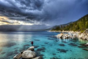 Watching an Incoming Storm at Tahoe by sellsworth