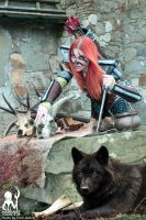 Aela the Huntress with wolf by MargaretCosplayArt