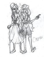 Disney Attraction Sisters Sketch by Omgjelloz