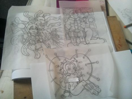 rough sketches by skullpunk666girl