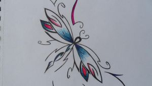 Dragonfly Tattoo Design (Middle) by Rock-N-Roller14