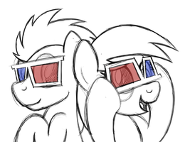 Doctor Whooves and Derpy in 3D by drawponies