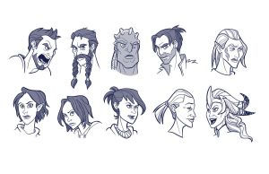 Faces of Dragon Age by mollyinmeguro
