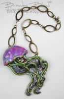 Jellyfish Necklace in Purples and Greens by TinfoilHalo