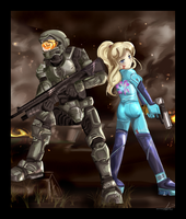 Master Chief and Samus Aran by sakura02