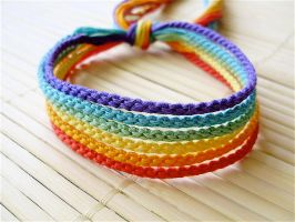 Muted Rainbow Set of Bracelets by bobtheenchantedone