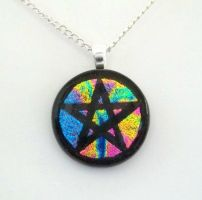 Rainbow Mix Pentacle Fused Dichroic Glass Pendant by poisons-sanity