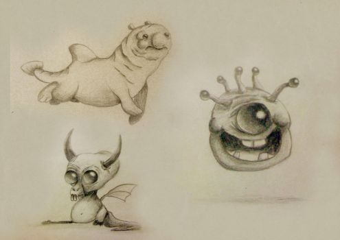 Creature Sketches by Bearded-Manatee