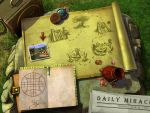 drawings, cards on the old map by Uolja
