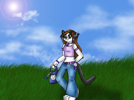 Missy kitty in field by kagome-h