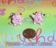 Pokemon - Clefairy Earrings by YellerCrakka