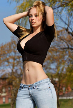 Busty blondie with flat abs and wide hips by HipsLie