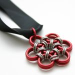 Red Japanese Flower Pendant by Utopia-Armoury