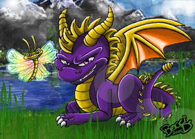 Spyro the dragon and Sparx by Mysterious-D