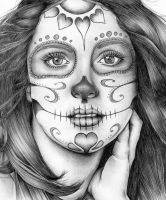 sugar skull girl in biro by angelfaces1986