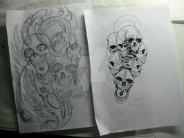Skull pile sketches by micaeltattoo