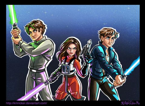 Jacen, Jaina, and Anakin Solo: New Jedi Order by KMRicker