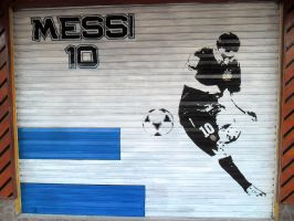MESSI Street Art by Johnny-Aza