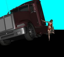 Vicky leans on a truck by steelknight3000