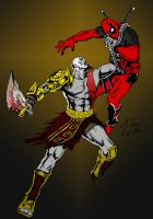 Kratos VS Deadpool by BIG-D-ARTiZ