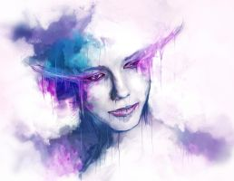 watercolored girl by mpoutakos