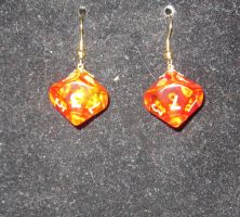 Red and gold magma d10 earrings by BlackUnicornWood