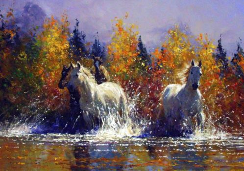 'Afternoon Run' - Oil on Canvas - By Robert Hagan by robert-hagan