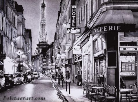 Ballpoint Pen Art - Evening in Paris by poletaevart