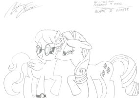 MLP:FiM - Blaine and Rarity by MortenEng21