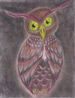 Stylized Owl in Color Charcoal by Lonewolf521