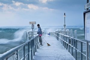 Frozen Jetty - Versoix, Switzerland by cwaddell