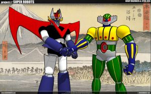 Great Mazinger Vs. Steel Jeeg by cosedimarco