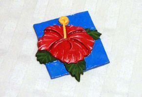Red hibiscus magnet by tobilou