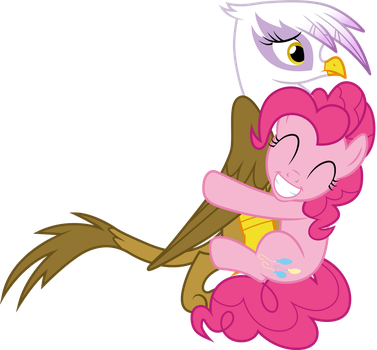Pinkie Pie hugging Gilda by CloudyGlow