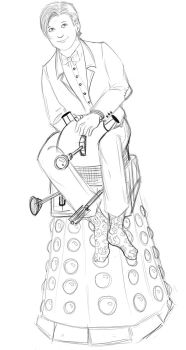 The eleventh Doctor - sketch - I ride a dalek now by FuriarossaAndMimma