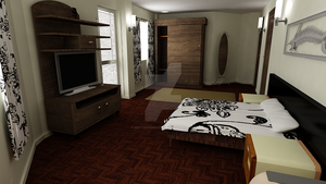 Waterhouse Townhouse design 1 - Master bedroom by MattShadowwing
