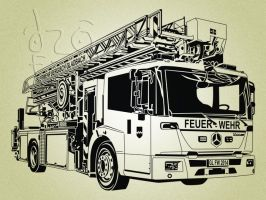 fire truck line art vector by ndop