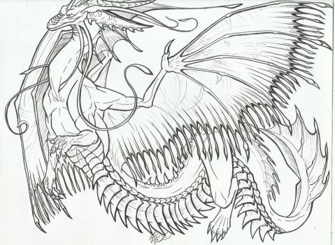 Oarfish Lung Dragon! (uncolored) by AmericanBlackSerpent