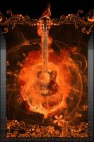 Flammable guitar iPhone wall by DeviantSith