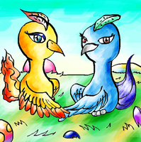 Moltres loves Articuno -colour by Sulfura
