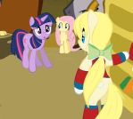 Meta meets Fluttershy and Twilight by PokeDigiSonic-PDS