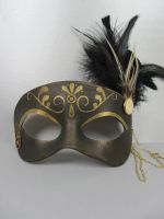 Steampunk leather masquerade in black and gold by maskedzone